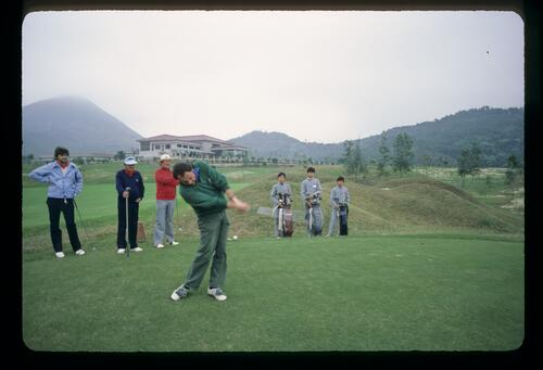 Golf photographer Lawrence Levy tees off at the new Chinese golf course at the Chung Shan Hot Spring Golf Club