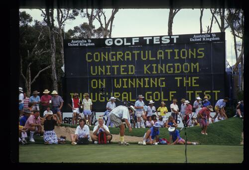 The scoreboard congratulating the United Kingdom on winning the inaugural Golf Test Match against Australia
