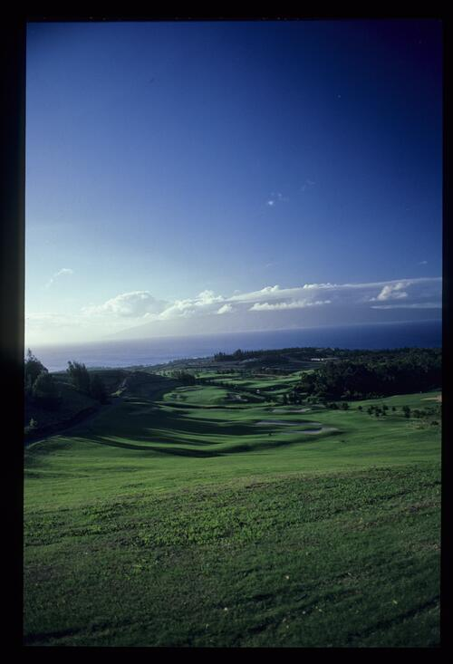 A scenic view of the Kapalua Village Course