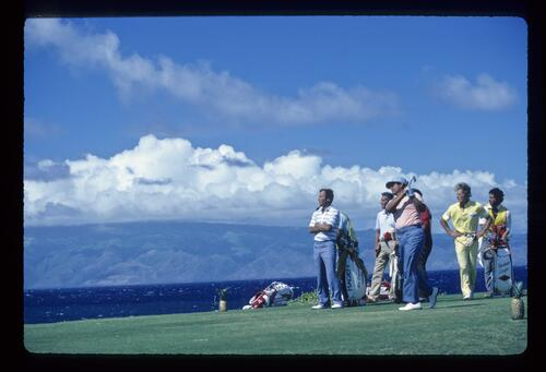 Lee Trevino on the tee at the Kapalua International Golf Championship