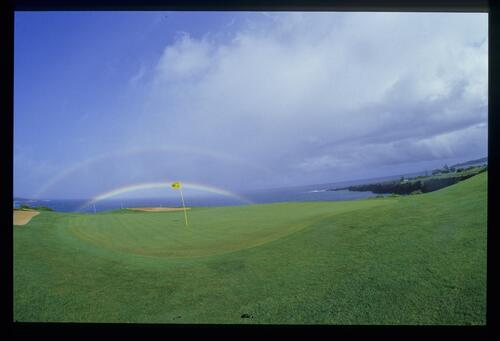A rainbow over the green at the Kapalua International Golf Championship