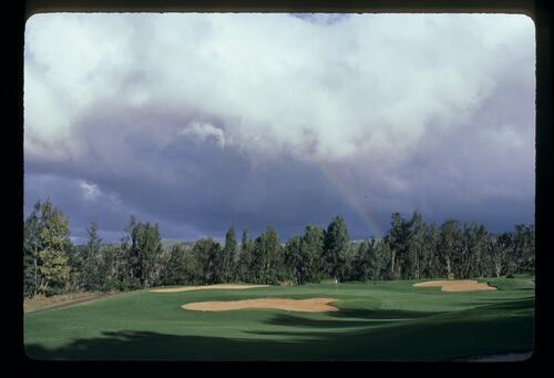 A rainbow over the course at the Kapalua International Golf Championship