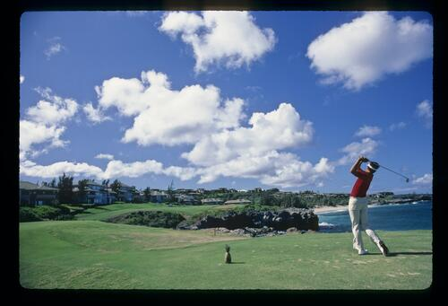 On the tee at the 5th hole at the Kapalua International Golf Championship