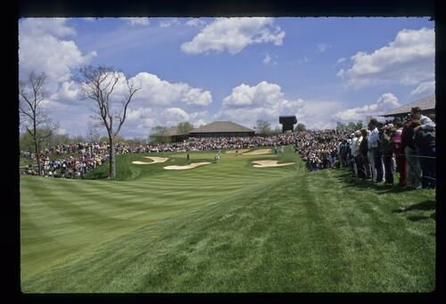 A view of the 18th green at the Memorial Tournament at Muirfield Village