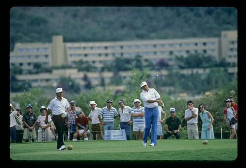 Raymond Floyd on the tee with Lee Trevino at the 1983 Million Dollar Golf Challenge at Sun City