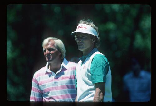 Bernhard Langer and Greg Norman at the ESP Open Championship at Royal Canberra