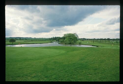 A view of the 9th and 18th holes at the 1989 Ryder Cup Match at The Belfry