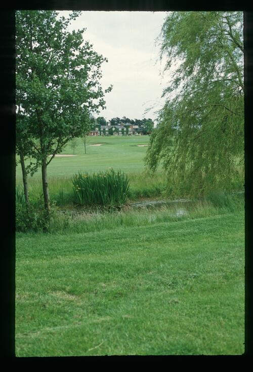 A scenic view of The Belfry Clubhouse from the course at the 1989 Ryder Cup