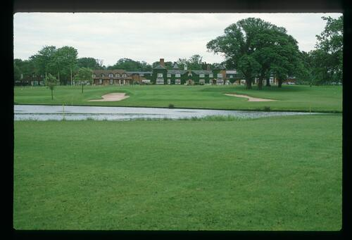 The 18th green with the clubhouse in the background at the 1989 Ryder Cup at The Belfry