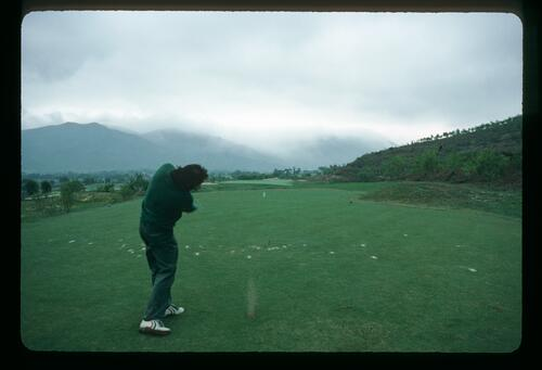 Golf photograher Lawrence Levy tees off at the newly completed Chung Shan Hot Spring Golf Club