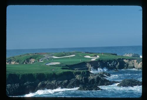 A view across the water to the 16th green at Cypress Point