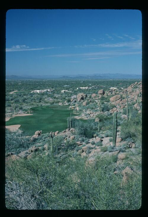 A view overlooking the Desert Highlands Golf Course in Scottsdale, Arizona