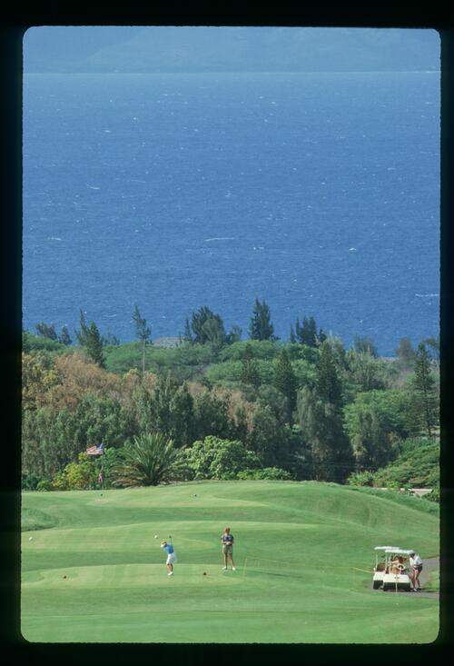 On the tee at the Kapalua Village Golf Course