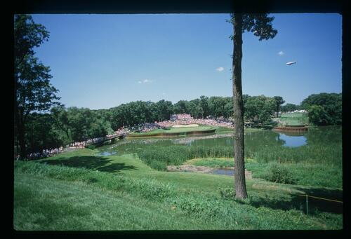 A scenic view of the 17th hole at Medinah Country Club at the U. S. Seniors Open Championship