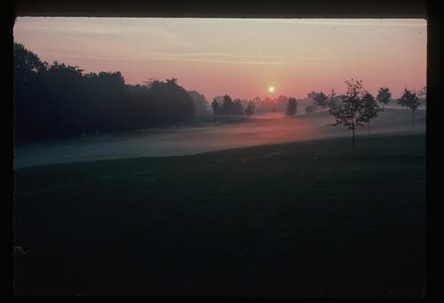An early morning mist over Muirfield Village Golf Club