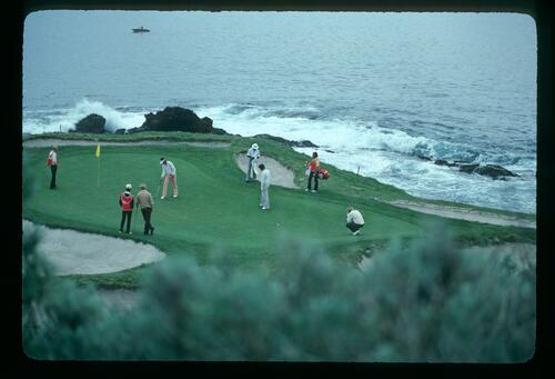 On the 7th green at Pebble Beach at the Bing Crosby Pro-Am Championship