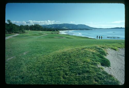 Walking the fairway at Pebble Beach at the Bing Crosby Pro-Am Championship