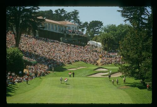 The 18th hole at the 1987 U. S. Open Championship at the Olympic Club