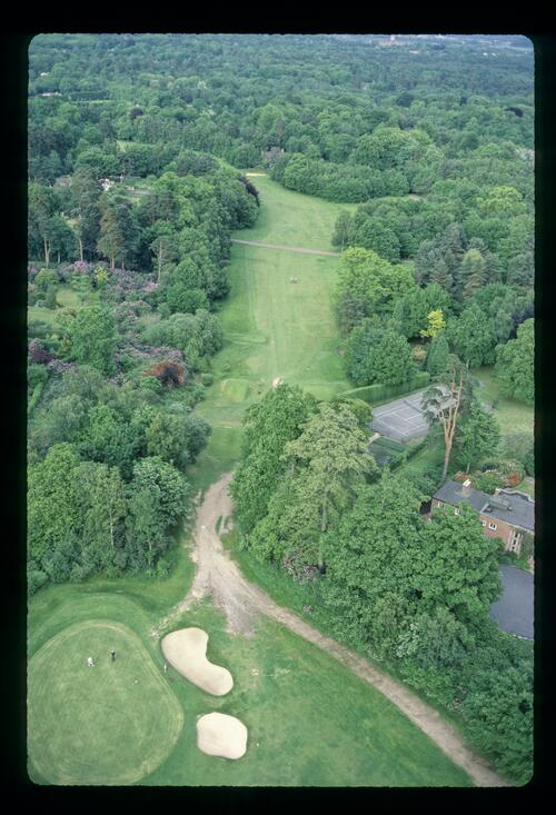 An aerial view of the 16th green and the 17th hole at the Wentworth Club