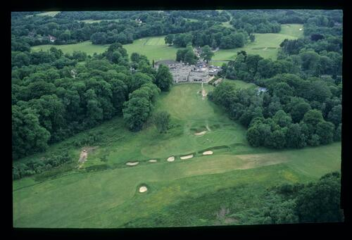 An aerial view from the West or the 18th hole at the Wentworth Golf Club