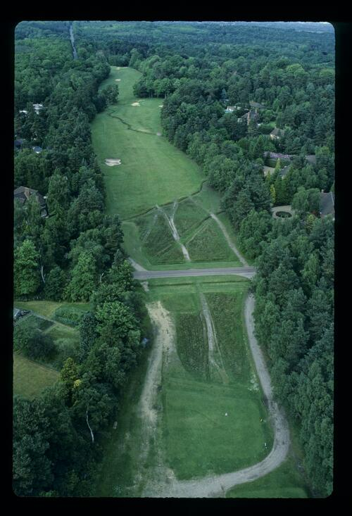 An aerial view of the 15th hole at the Wentworth Club