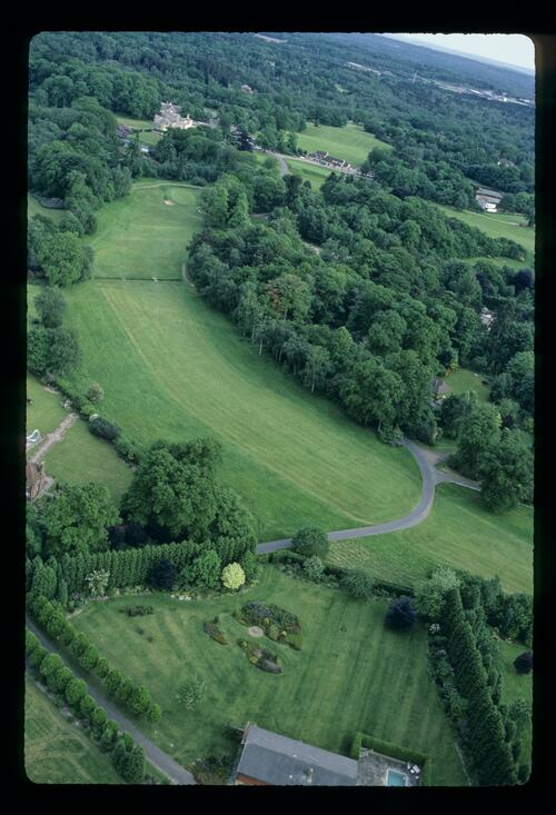 An aerial view of the 18th hole at the Wentworth Club