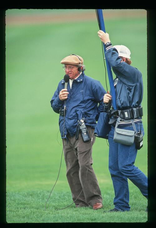 An on-course commentator on air at the 1988 Nabisco Championship at Pebble Beach