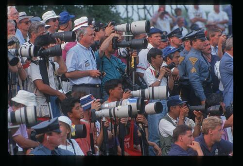The group of sports photographers ready for the action at the 1993 U. S. Open Championship