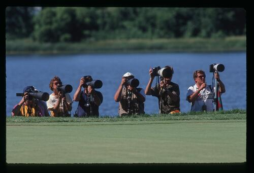 The press photogrpahers are ready for the action at the 1991 U. S. Open Championship