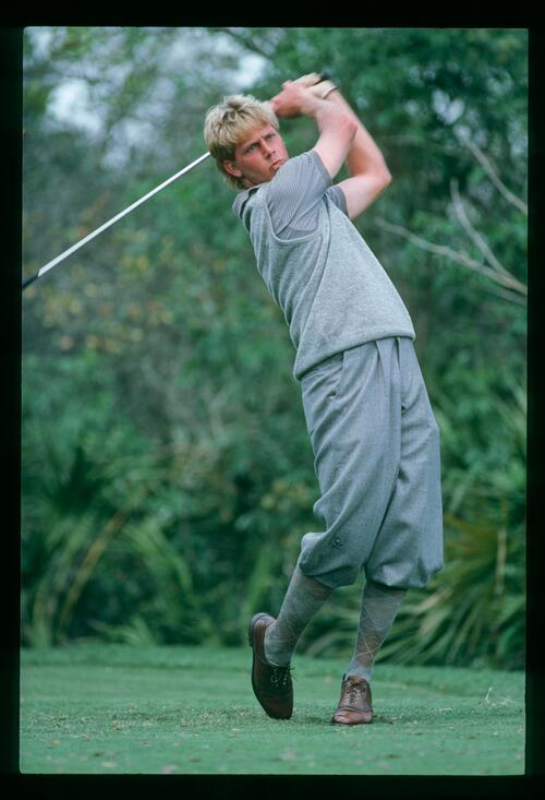 A young Payne Stewart on the tee at the 1984 Bay HIll Classic Championship