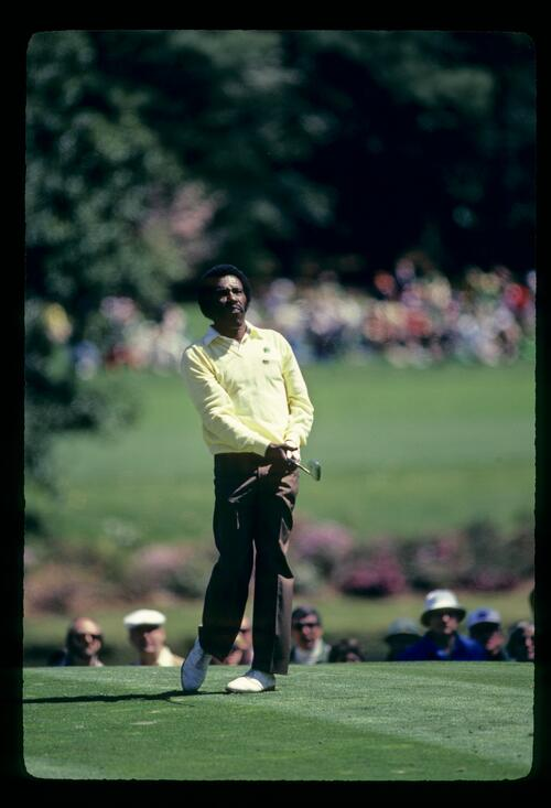 Golfer Calvin Peete on the tee at the 1982 Masters Championship