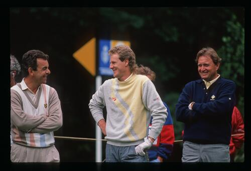 Tony Jacklin shares a laugh with fellow golfers, including Ray Floyd at the 1988 Open Championship