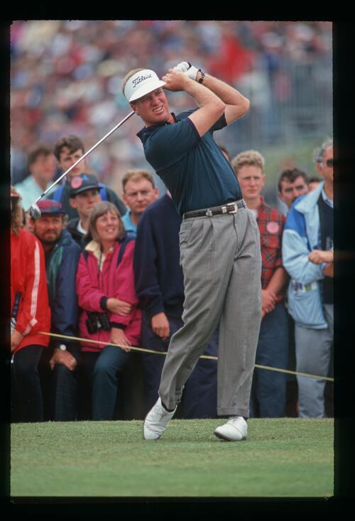 Australian golfer Steve Elkington plays his 3-wood off the tee at the 1993 Open Championship