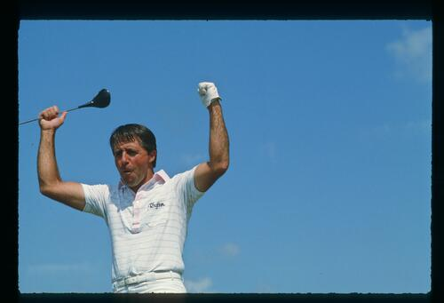 Golfer Gary Player gives a cheer