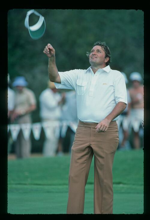 Golfer Ray Floyd tosses his visor in the air after winning the Sun City Million Dollar Golf Challenge