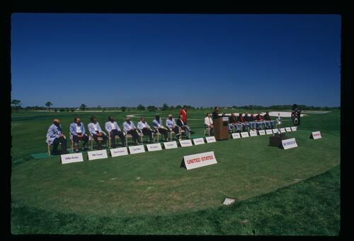 Introducing the two teams at the 1987 Chrysler Cup Championship