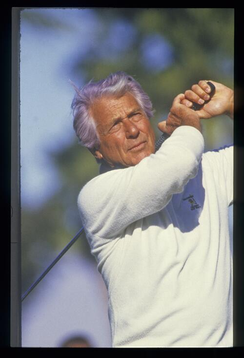 Actor Efrem Zimbalist, Jr on the golf course at the Bob Hope Desert Classic Championship