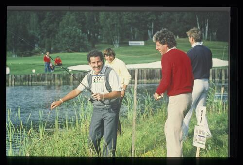 Golfer Sam Torrance gets in a little fishing between rounds