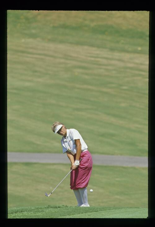 Patty Sheehan chips onto the green at the Ladies World Cup Championship in Japan