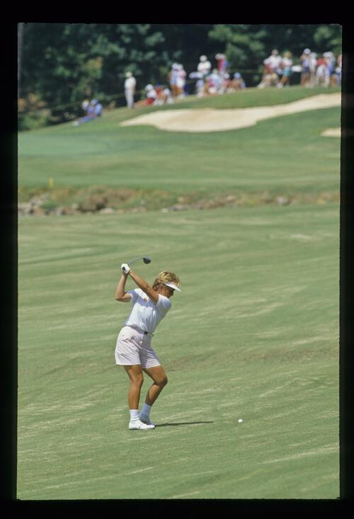 Jane Geddes plays her fairway wood at the 1987 Ladies World Cup Championship