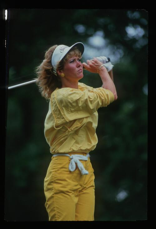 Kathy Baker on the tee at the 1987 Ladies World Cup at the Ibaraki Golf Club