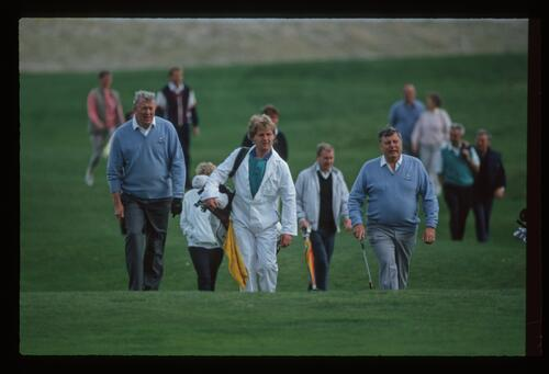 Teammates Bernard Hunt and Peter Alliss approach the green at the Grand Match at Royal Cinque Ports