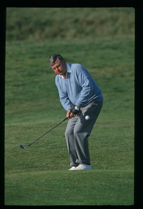 Peter Alliss plays his pitch shot to the green at the 1992 Grand Match at Royal Cinque Ports