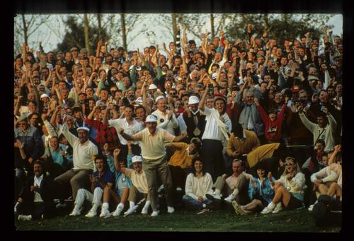 The European fans and players react to a match win at the 1989 Ryder Cup