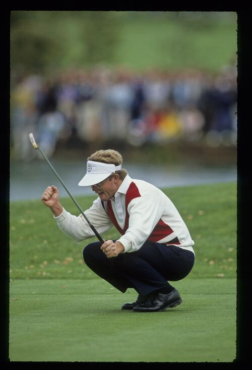 American Ryder Cup player Tom Kite reacts to his holed putt at The Belfry