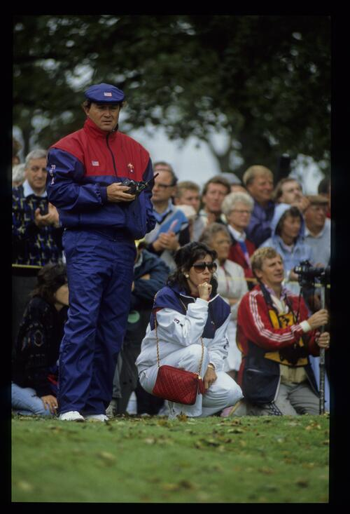 American team captain Raymond Floyd watches the action at the 1989 ryder Cup at The Belfry