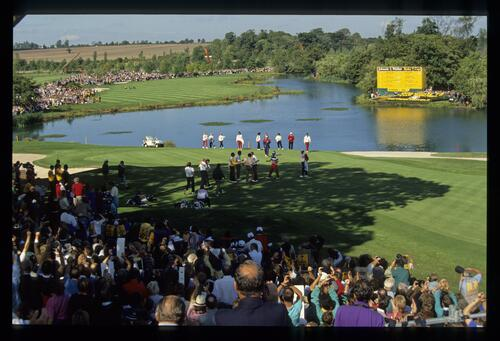 The European team claim the foursomes match on the 18th hole at the 1989 Ryder Cup