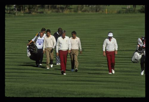 American golfers Curtis Strange and Tom Kite in the morning Foursomes against the European team of Seve Ballesteros and Jose Maria Olazabal at the 1989 Ryder Cup