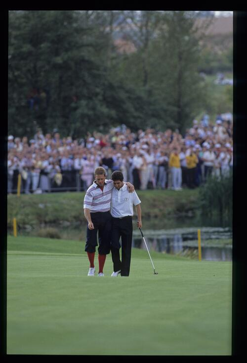 Competitiors Payne Stewart and Jose Maria Olazabal share a comradeship at the 1989 Ryder Cup