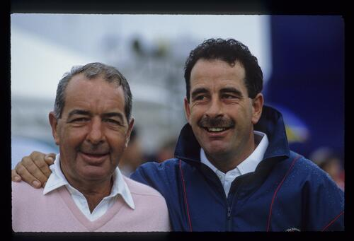 European golfer Sam Torrance poses with his father, Bob at the 1989 Ryder Cup